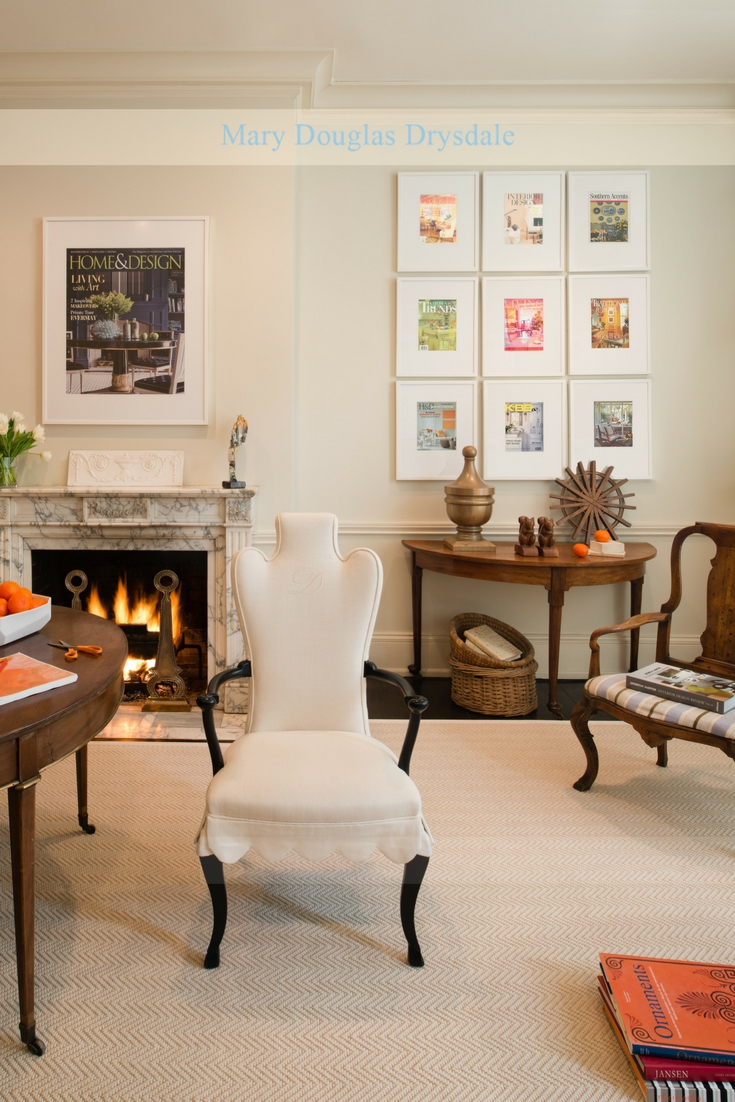 A fire in the fireplace adds a warm glow to the design studio offices of Mary Douglas Drysdale.