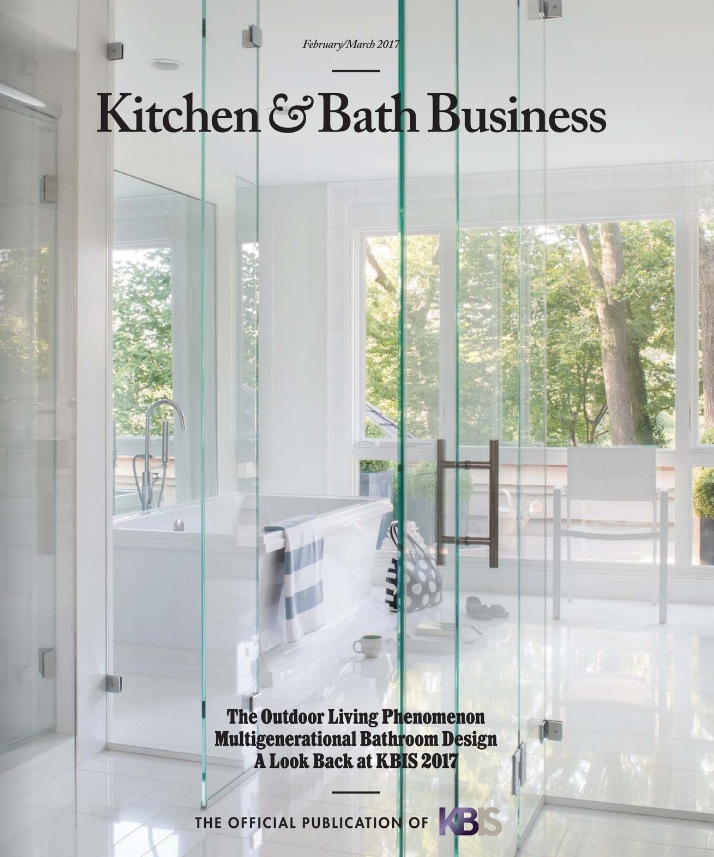 A bright white bathroom design by Mary Douglas Drysdale graces the cover of the Feb/March 2017 issue of Kitchen & Bath Business.