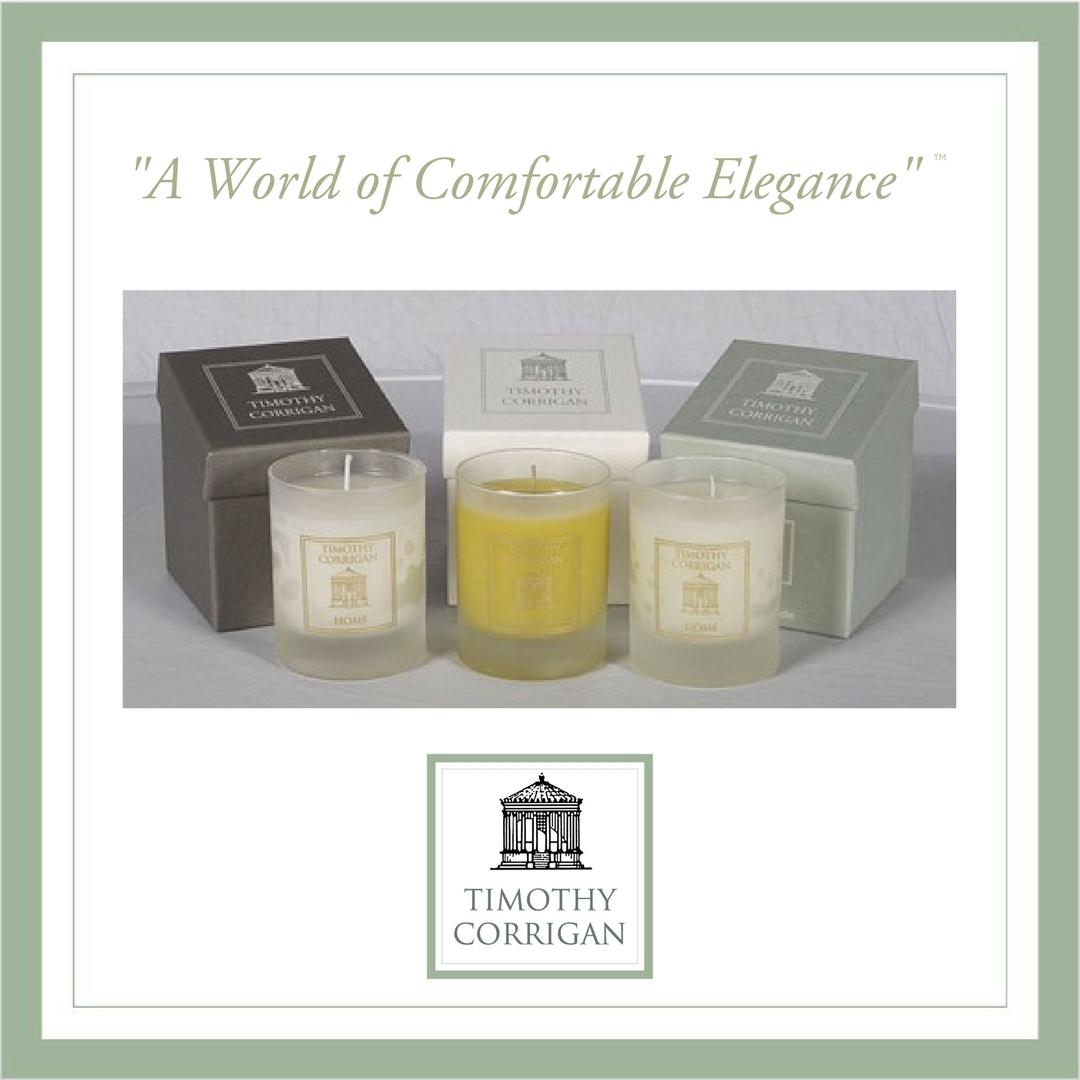 Timothy Corrigan Home candles, avail. in 3 different fragrances on www.timothy-corrigan.com