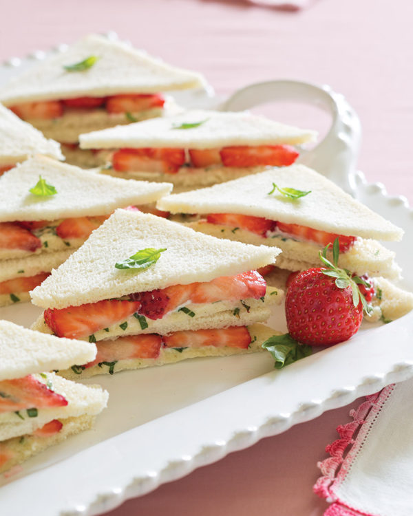 strawberry tea sandwiches, cute tea party idea. Click to see even more elegant tea party ideas in the post!