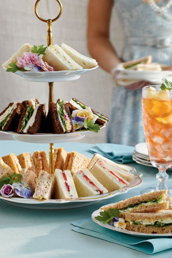 Tea party ideas, serve tea sandwiches. Click to see the rest of ideas in this post for an elegant tea party!