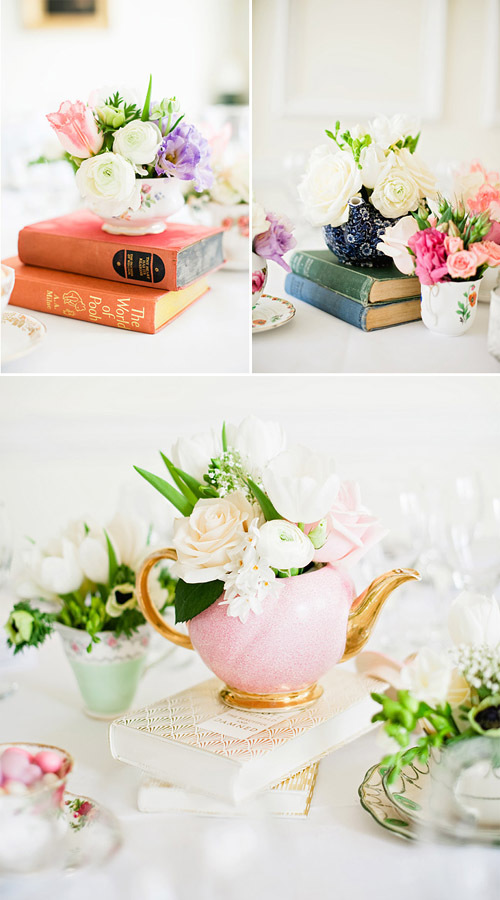Elegant tea party ideas, decorate with books, flowers and tea pots. Click to see even more tea party ideas on the blog!