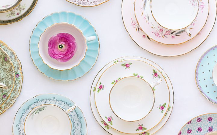 Elegant tea party ideas, decorate with vintage tea sets. Click to see even more tea party ideas in this post.