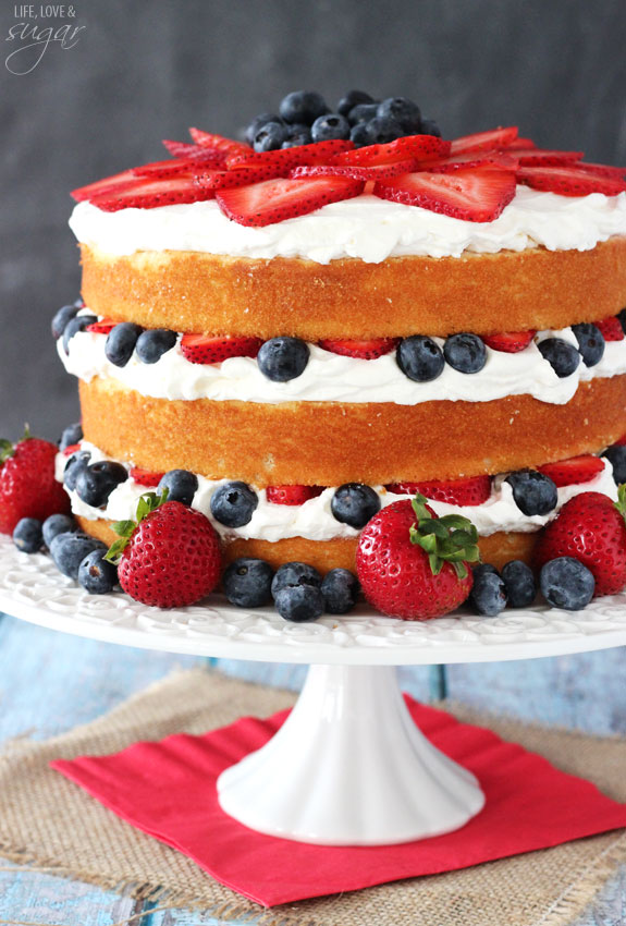 Fresh Berry Vanilla Layered Cake, 4th of July food ideas.