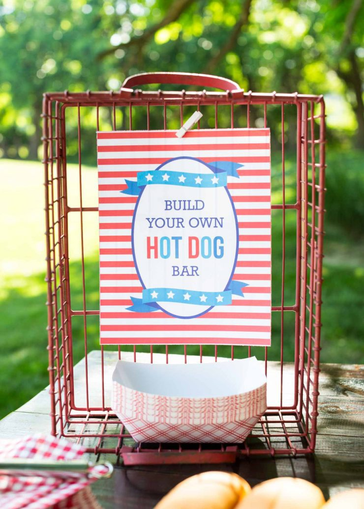 4th of July party ideas, hot dog bar. For more 4th of July ideas click to read the rest of the post!