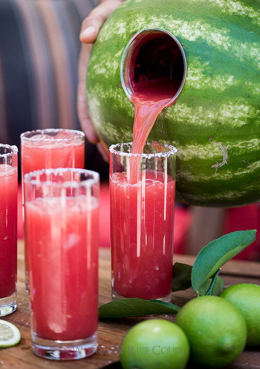 Watermelon margarita recipe, cute 4th of July cocktail idea.