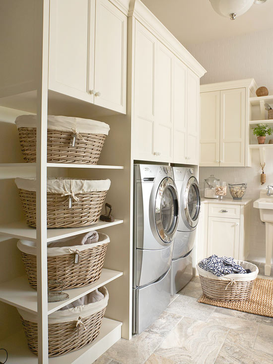 luxury laundry room ideas, plenty of storage space to corral clutter. Click to see the rest of our luxury laundry room inspiration in the post!