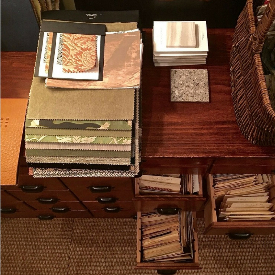 The beautiful antique wooden file drawers used by Barry Darr Dixon for his fabric memos.