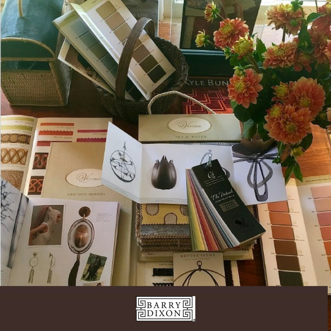 A beautiful layout of many of Barry Darr Dixon's licensed designs for manufacturers like Arteriors, Vervain Fabrics, Avrett, Tomlinson, etc.
