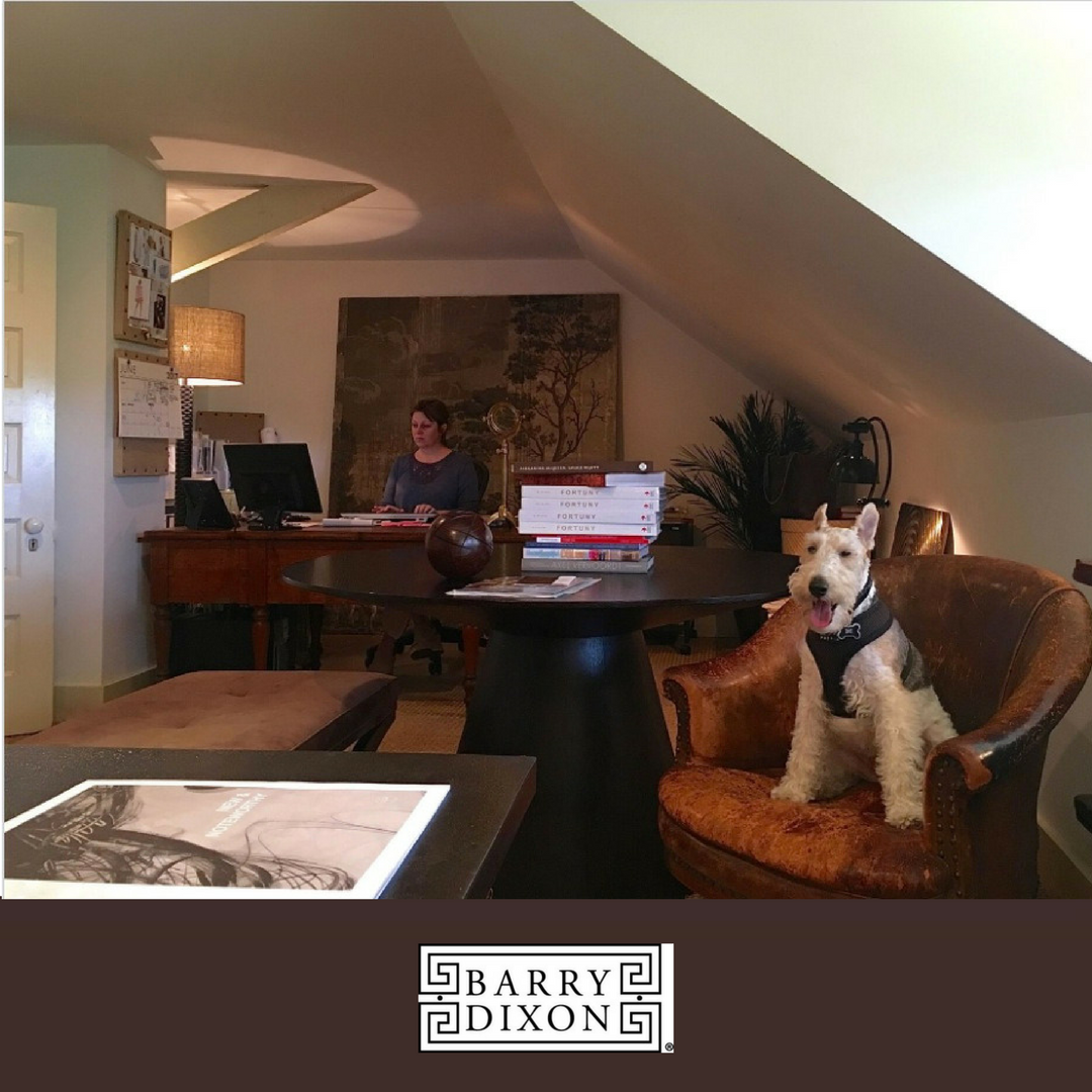 A member of Barry's team at work, with another member of his *team*, Dinah, greeting visitors.