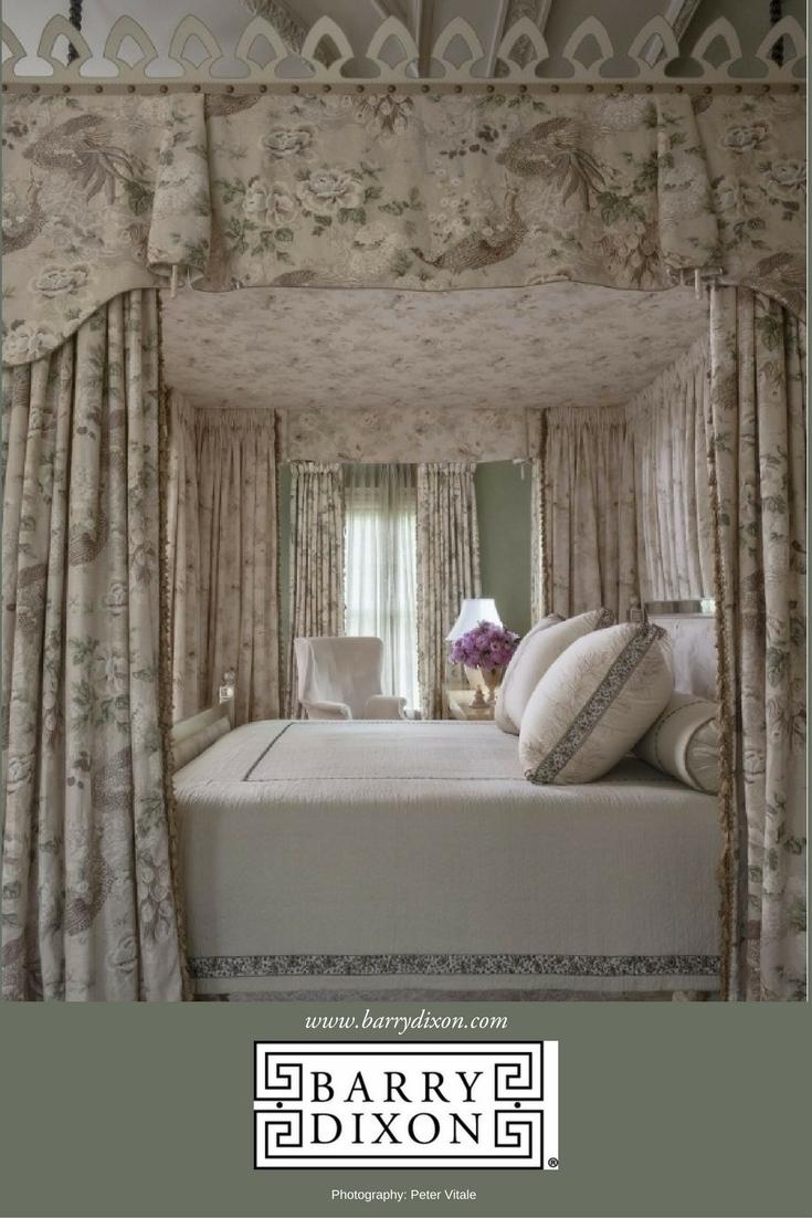 A lavishly draped bedroom by interior designer, Barry Darr Dixon.