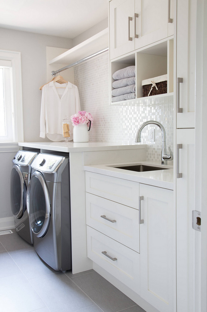 Elegant Luxury Laundry Room Ideas, Crisp Neutral Colors And A Shimmery Backsplash.  Click To See