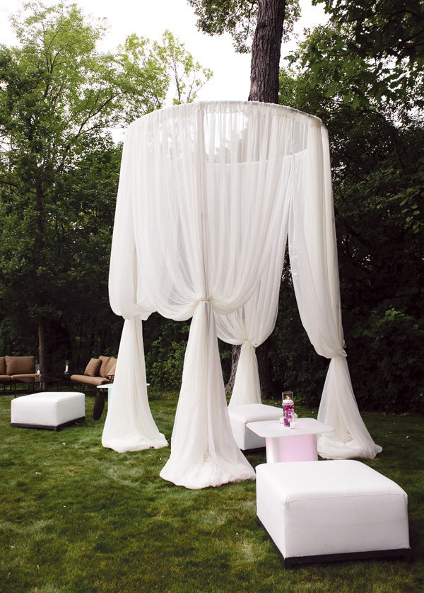 How to throw a white out party hadley court interior for Outdoor party tent decorating ideas