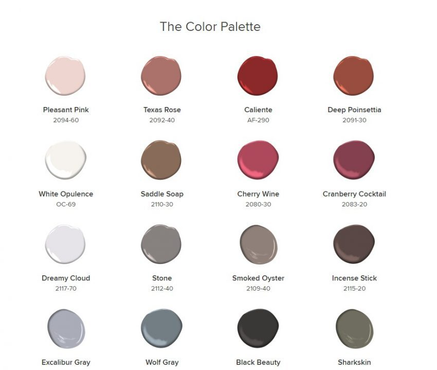 Color palette to Caliente, developed by Benjamin Moore