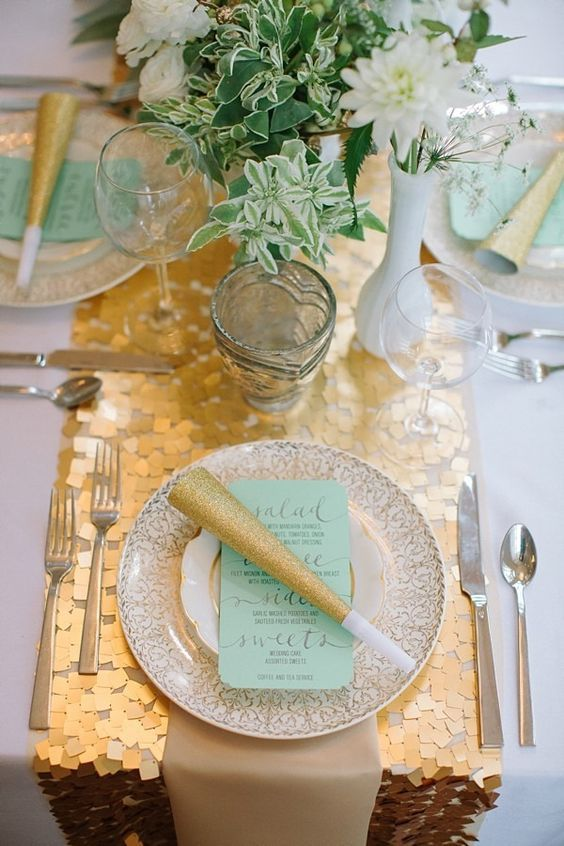 gold new year's eve tablescape