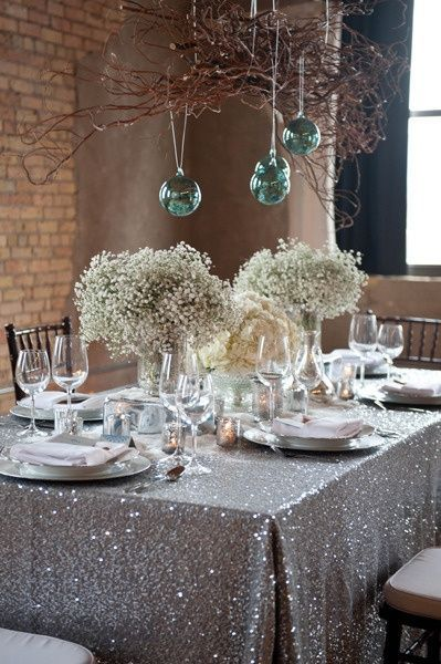 new year's eve tablescape sequins