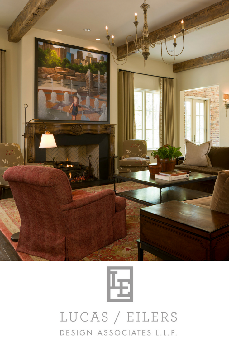 A beautiful living room, combining art and antiques, designed by Houston based Lucas Eilers Design Associates.