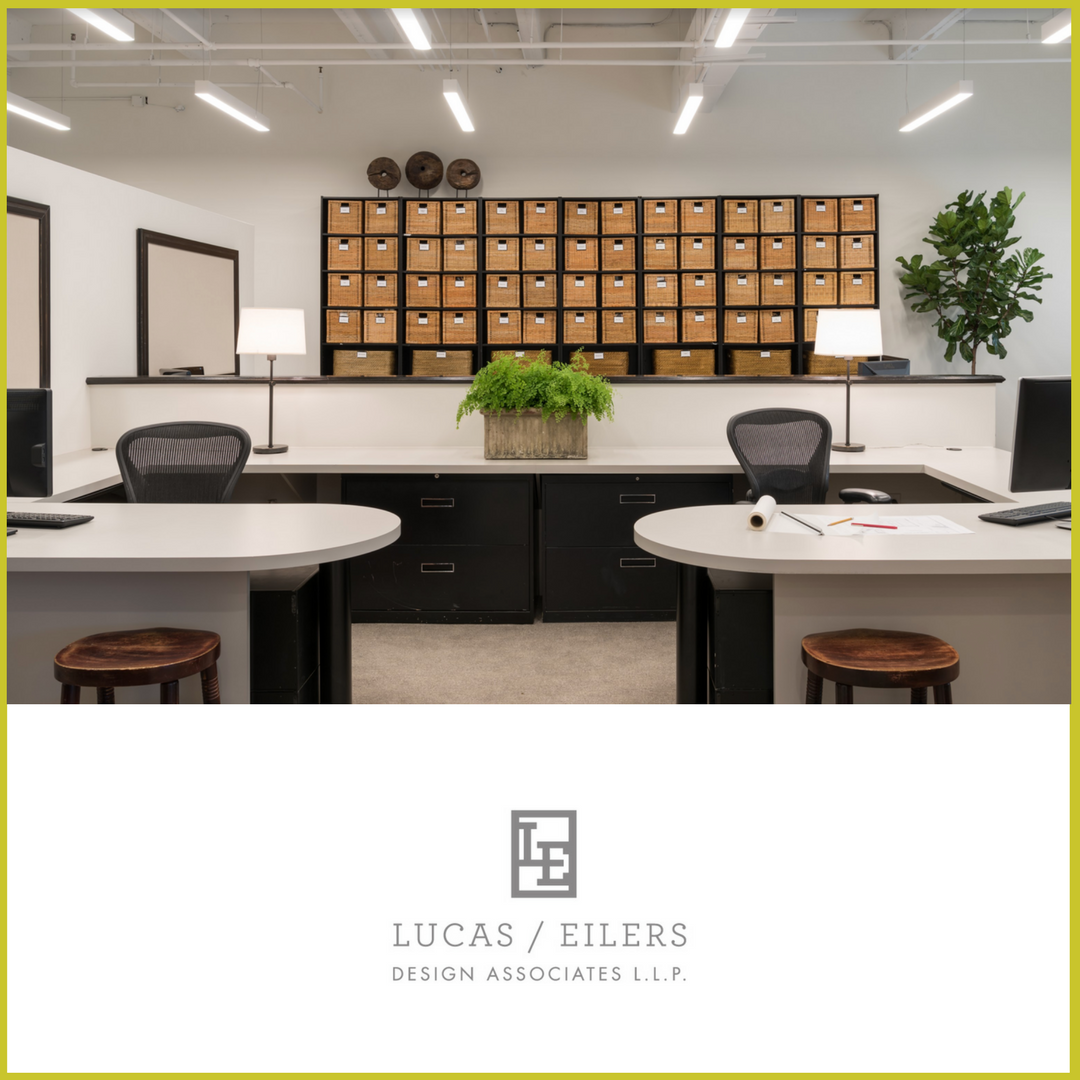 Soaring 13' ceilings in the workspaces of Houston based Lucas Eilers Design Associates insure the team never feels crowded.