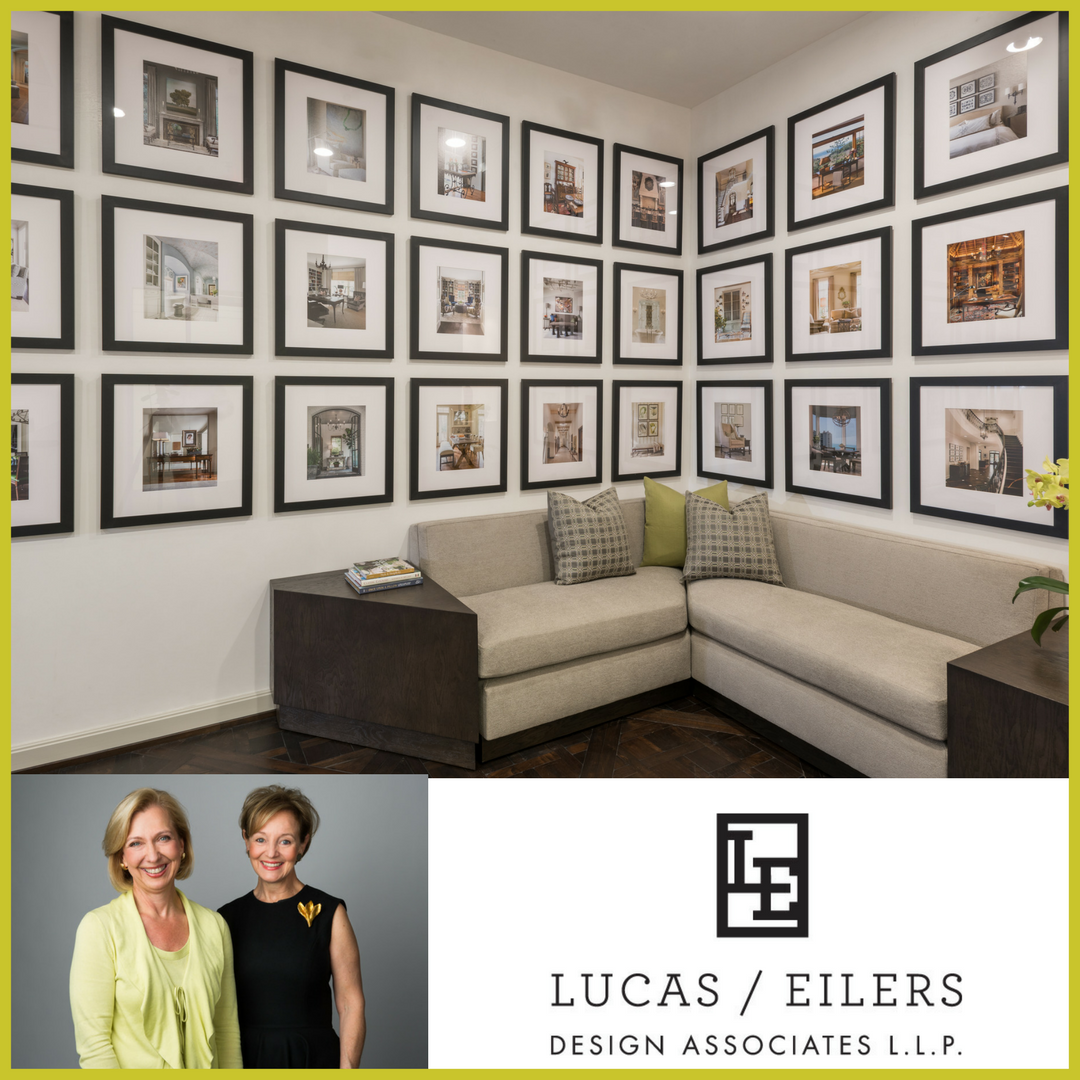 Two walls of published projects greet visitors to the Houston offices of Lucas Eilers Design Associates