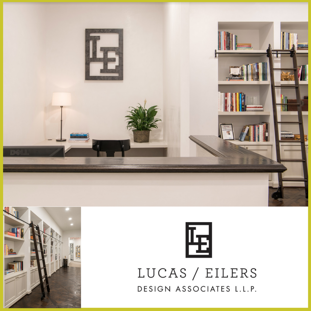 Neutral colors and beautiful, natural materials, including white plaster walls, greet visitors at the reception desk of Houston based Lucas Eilers Design Associates.