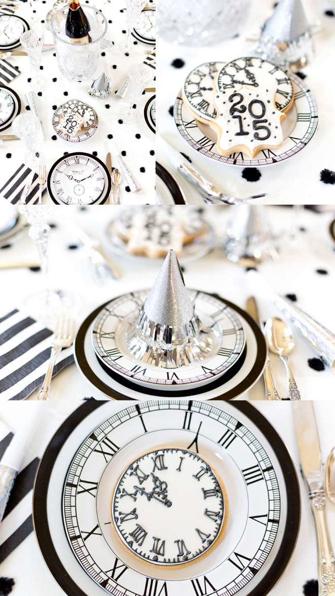 black and white clock theme new year's eve tablescape