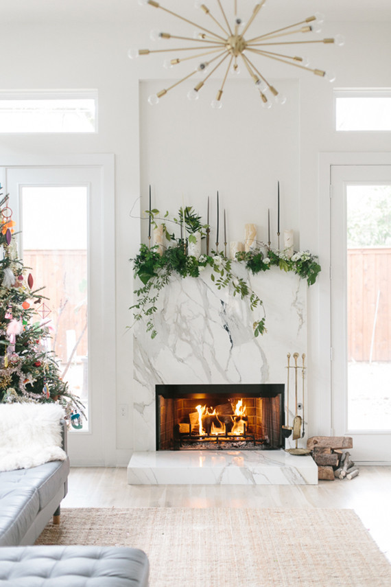 holiday mantel decor greenery