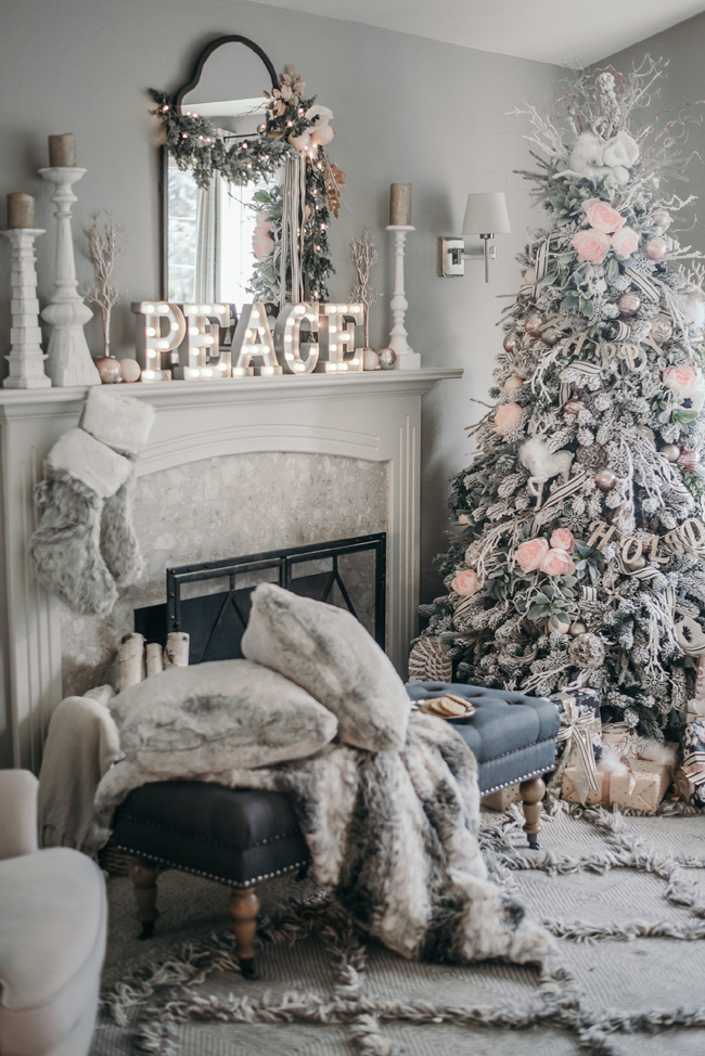 holiday mantel decorating ideas pink fireplace