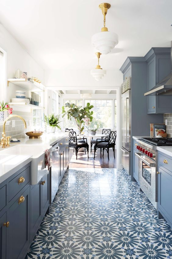 blue kitchen design style by emily henderson