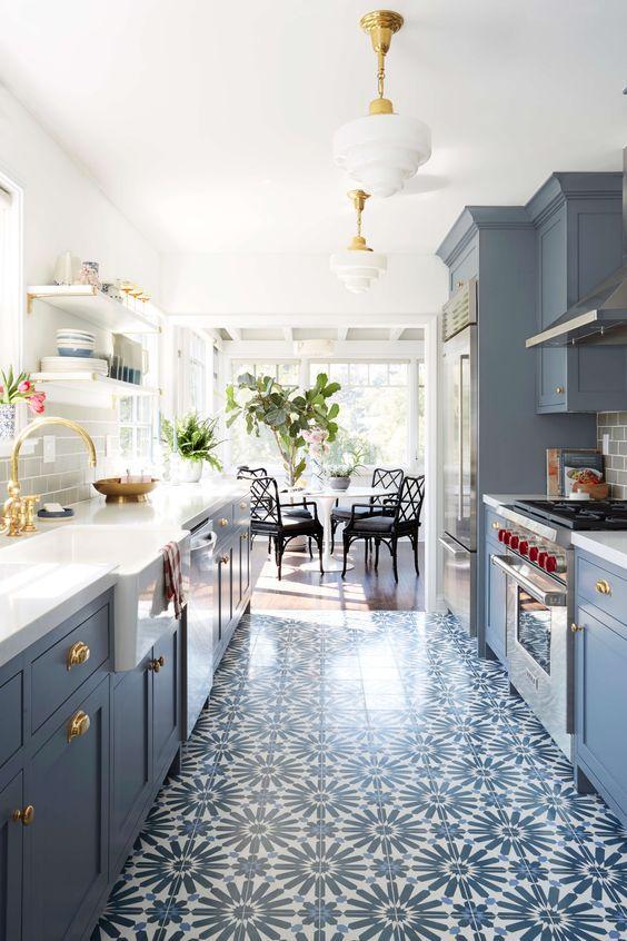 blue kitchen design style by emily henderson