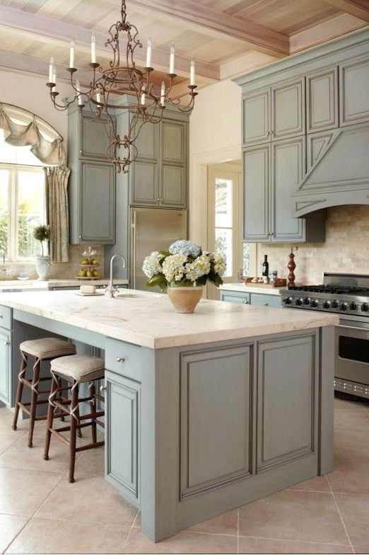 dreamy blue kitchens French country kitchen