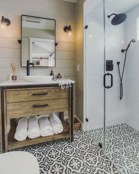 patterned tile bathroom floor becki owens