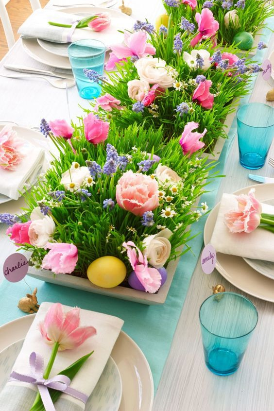 easter home decor ideas bright tablescape