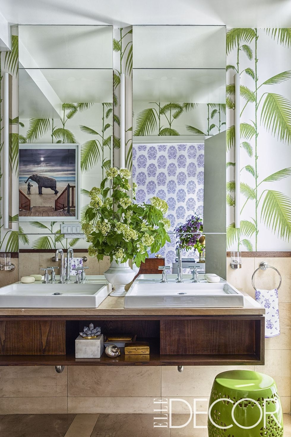 bathroom with wall covering