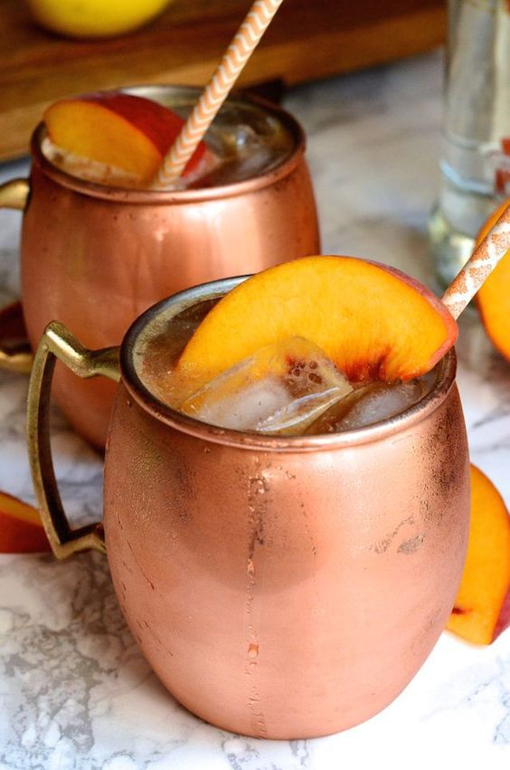 summer cocktail recipes ginger peach moscow mule