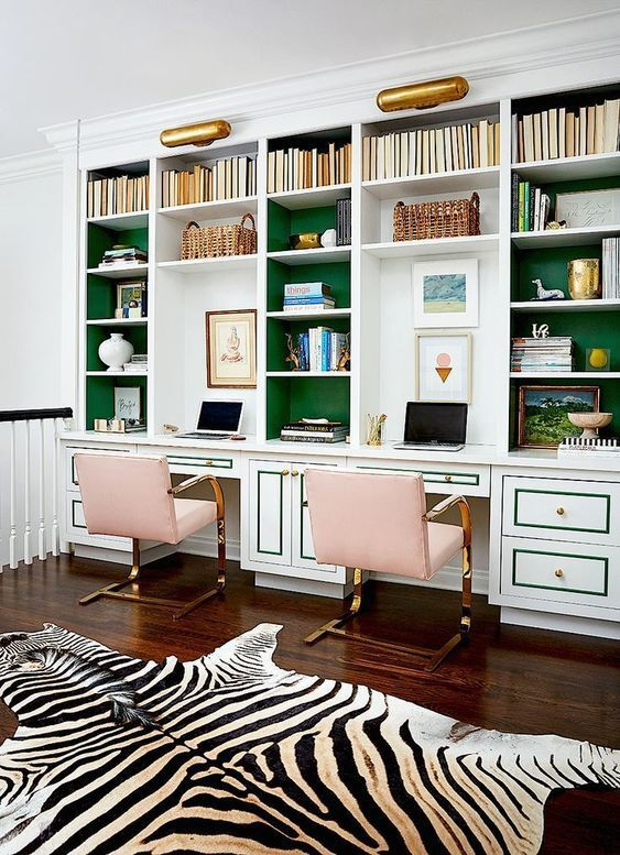 chic and feminine bold office decor