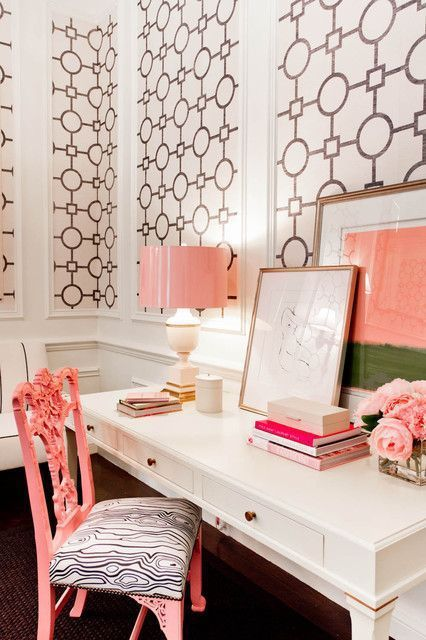 feminine home offices chic and eclectic color scheme