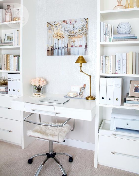 chic and feminine home offices white office ideas