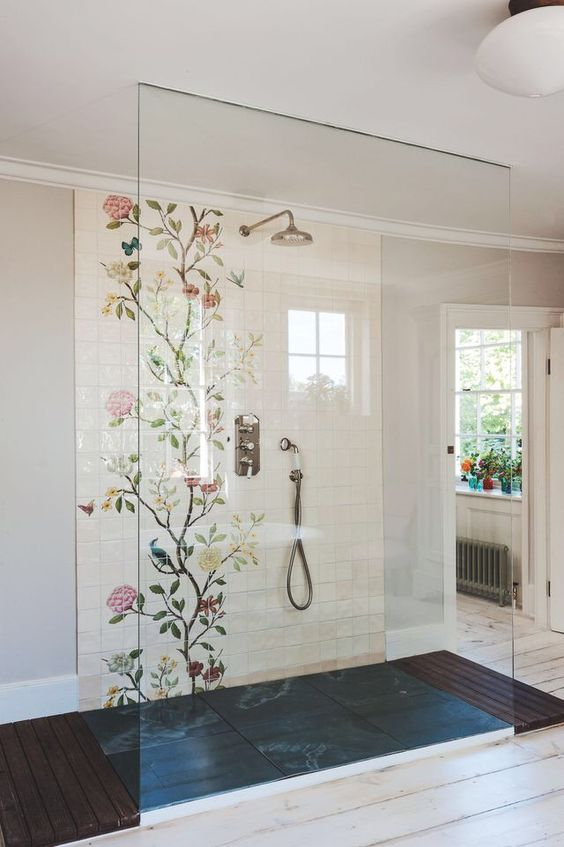 stunning showers we love artistic statement wall in the bathroom