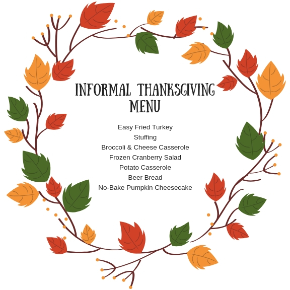 Informal Thanksgiving Menu
