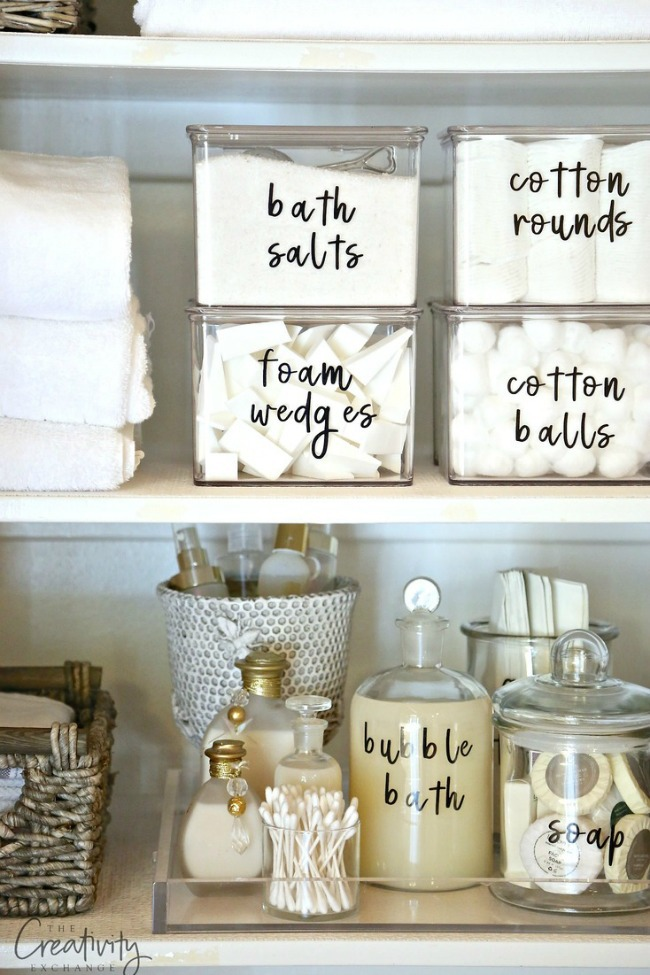 Bathroom Cabinet Organizing - Baskets