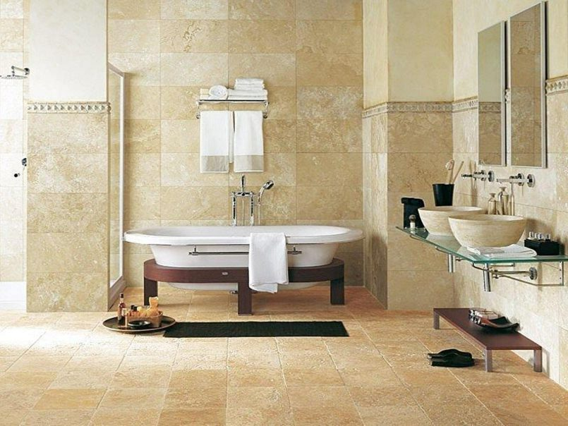Travertine in floors all the way up to the ceiling - bathroom