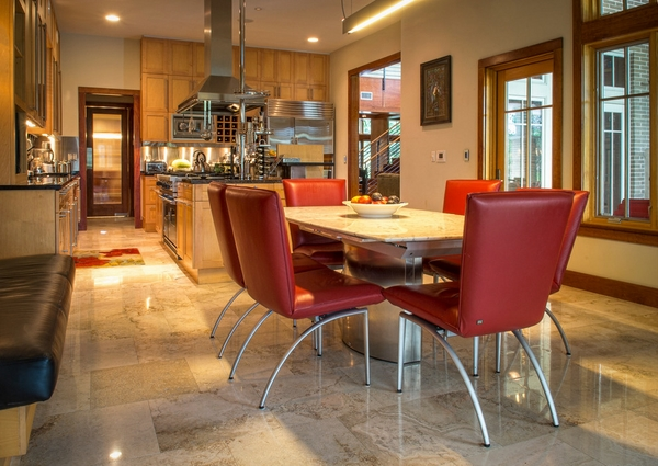 Dining Room with Travertine Floors