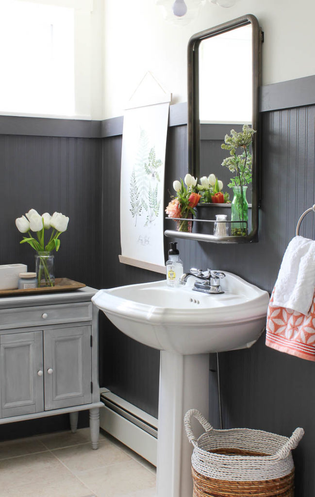 Painted beadboard bathroom