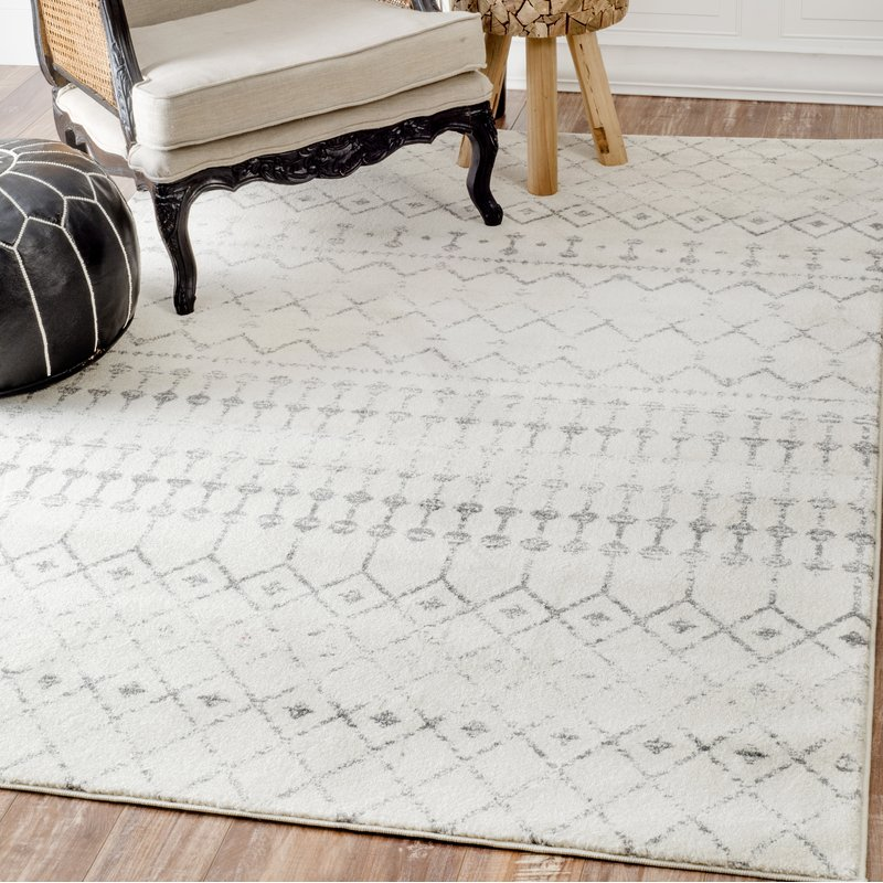 grey and white area rug wayfair