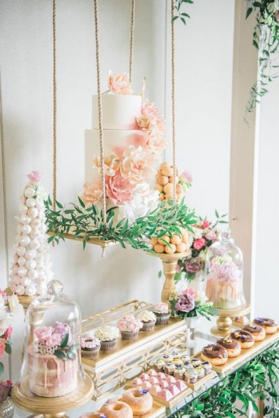 beautiful garden dessert table display