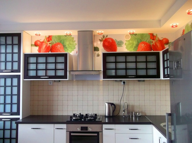 Wallpaper above kitchen cabinets