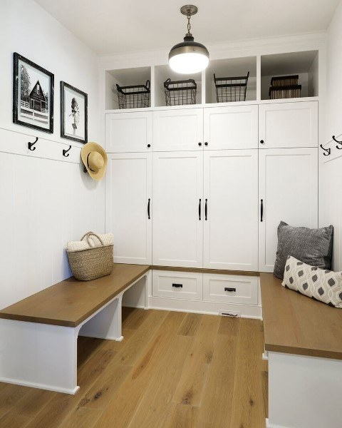 Small Mudroom Ideas - Mix and match hooks