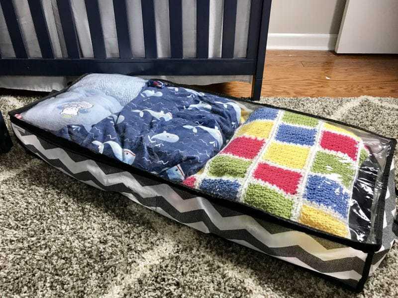 nursery organization ideas: under the crib storage