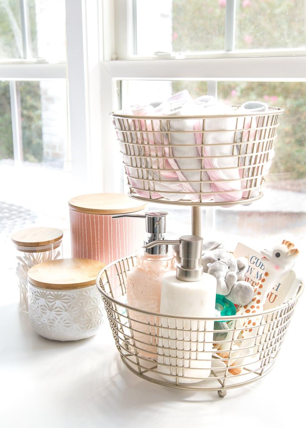 nursery organization ideas tiered baskets for storage