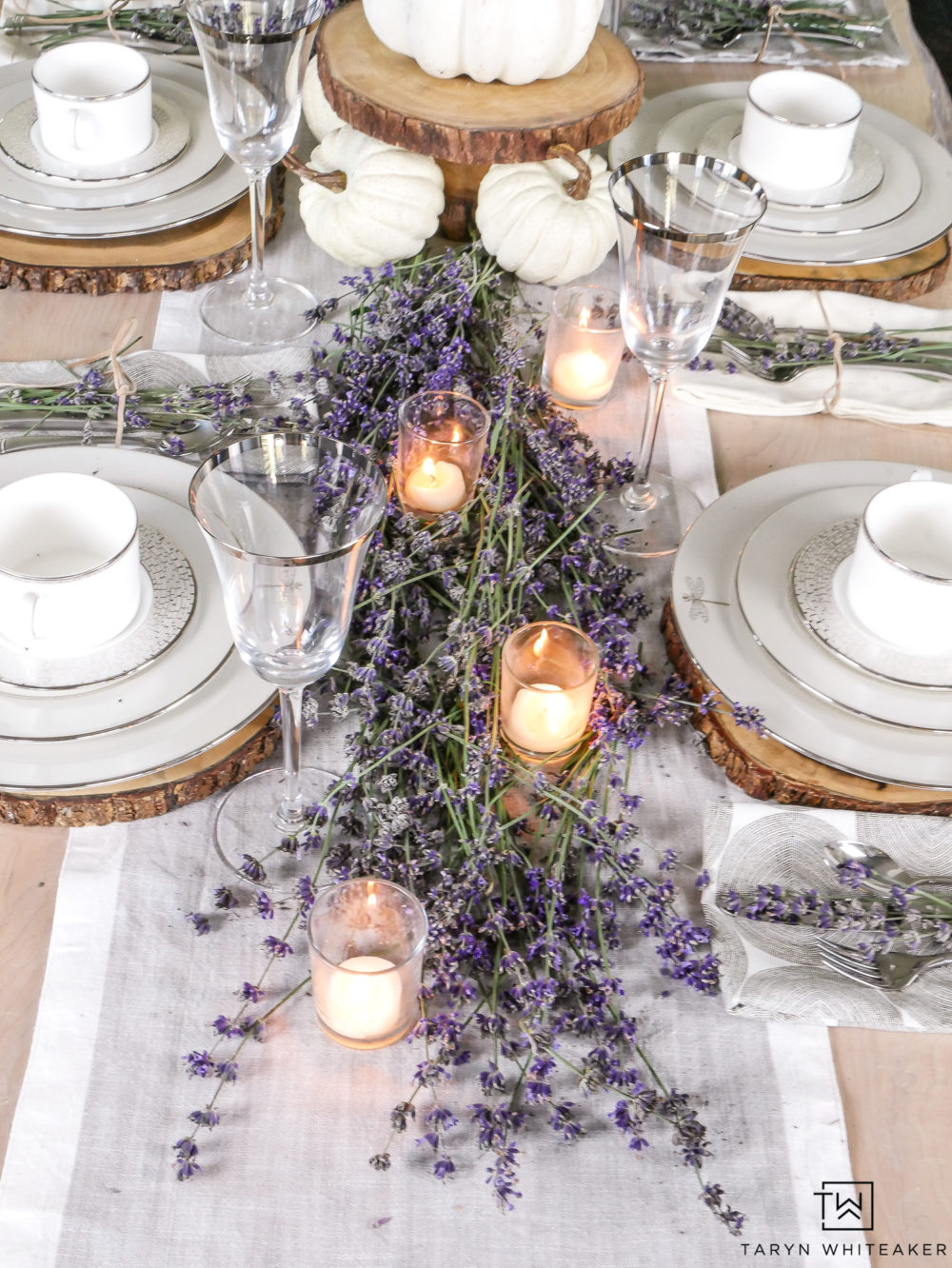 lavender fall tablescape